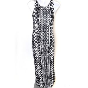 Geometrical Black White Sleeveless Maxi Dress